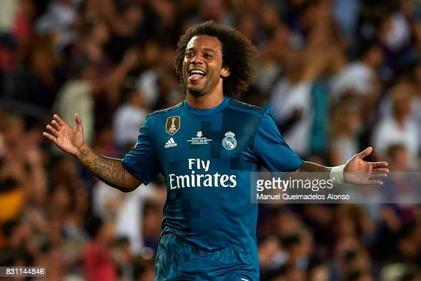 Marcelo of Real Madrid celebrates during the Supercopa de Espana Supercopa Final 1st Leg match between FC Barcelona and Real Madrid at Camp Nou on...