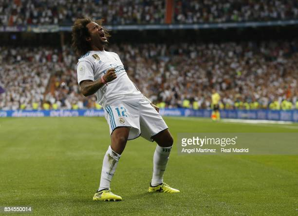 Marcelo of Real Madrid celebrates his team's second goal during the Supercopa de Espana Final second leg match between Real Madrid and FC Barcelona...