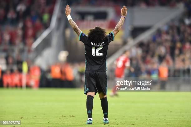 Marcelo of Real Madrid celebrates scoring his team's first goal during the UEFA Champions League Semi Final First Leg match between Bayern Muenchen...