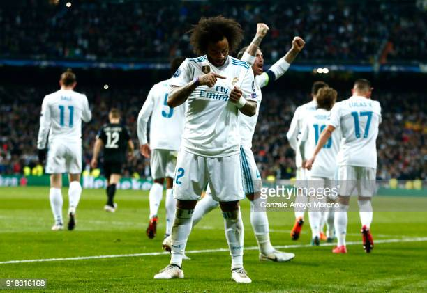 Marcelo of Real Madrid celebrates scoring the 3rd Real Madrid goal during the UEFA Champions League Round of 16 First Leg match between Real Madrid...