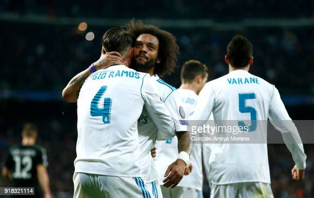 Marcelo of Real Madrid celebrates scoring the 3rd Real Madrid goal with Sergio Ramos of Real Madrid during the UEFA Champions League Round of 16...