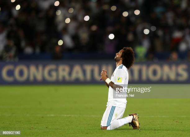 Marcelo of Real Madrid celebrates victory after the FIFA Club World Cup UAE 2017 Final between Gremio and Real Madrid at the Zayed Sports City...