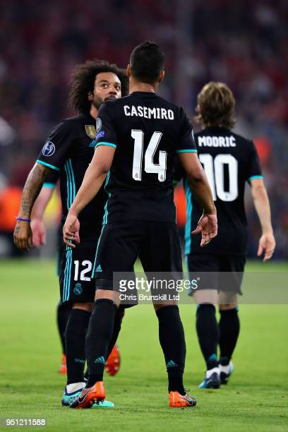 Marcelo of Real Madrid celebrates with teammate Casemiro after scoring his sides first goal during the UEFA Champions League Semi Final First Leg...