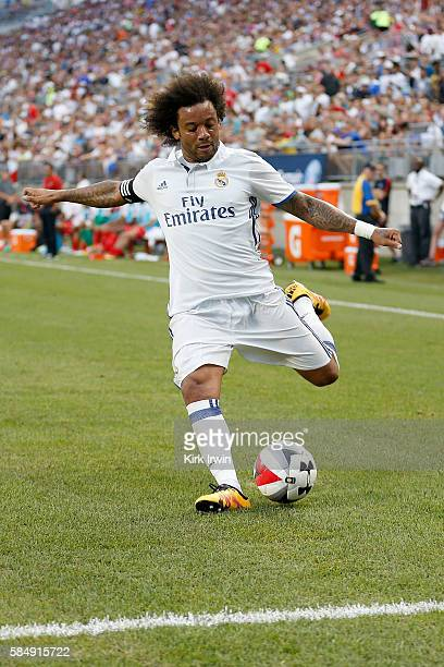 Marcelo of Real Madrid CF controls the ball during the game against Paris SaintGermain FC on July 27 2016 at Ohio Stadium in Columbus Ohio