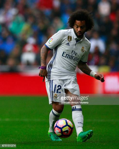 Marcelo of Real Madrid CF controls the ball during the La Liga match between Real Madrid CF and Valencia CF at Estadio Santiago Bernabeu on April 29...