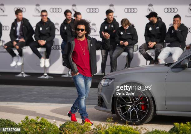 Marcelo of Real Madrid CF poses for a photograph after being presented with a new Audi car as part of an ongoing sponsorship deal with Real Madrid at...