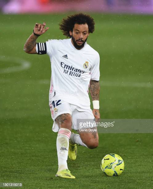 Marcelo of Real Madrid controls the ball during the La Liga Santander match between Real Madrid and Getafe CF at Estadio Alfredo Di Stefano on...