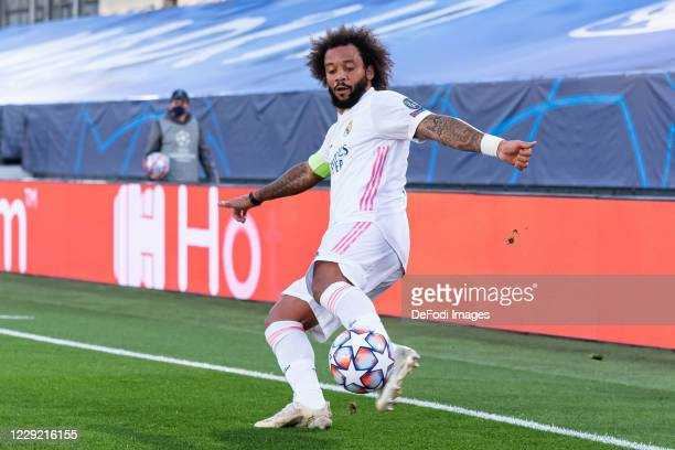 Marcelo of Real Madrid controls the ball during the UEFA Champions League Group B stage match between Real Madrid and Shakhtar Donetsk at Estadio...