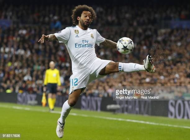 Marcelo of Real Madrid controls the ball during the UEFA Champions League Round of 16 First Leg match between Real Madrid and Paris SaintGermain at...