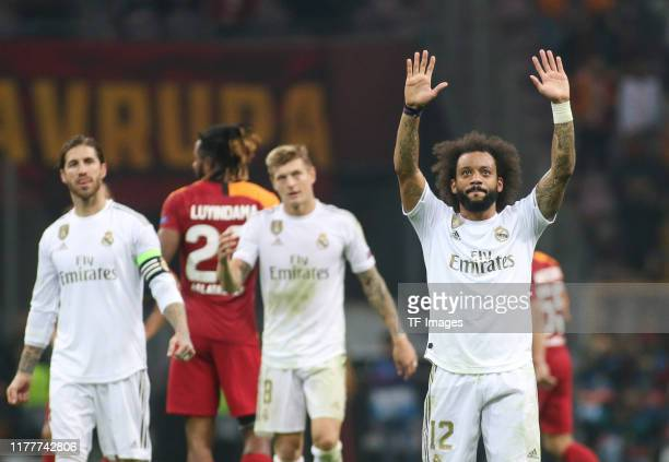 Marcelo of Real Madrid gestures during the UEFA Champions League group A match between Galatasaray and Real Madrid at Turk Telekom Arena on October...