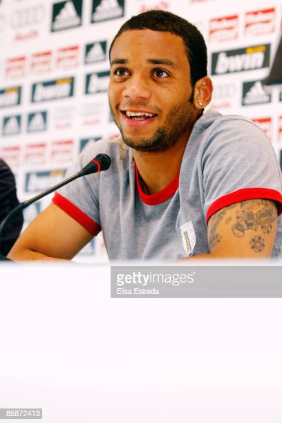 Marcelo of Real Madrid gives a press conference after a training session at Valdebebas on April 9 2009 in Madrid Spain