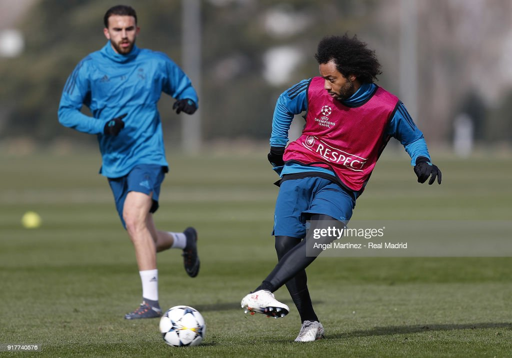 Marcelo of Real Madrid in action during a training session at Valdebebas training ground on February 13, 2018 in Madrid, Spain.