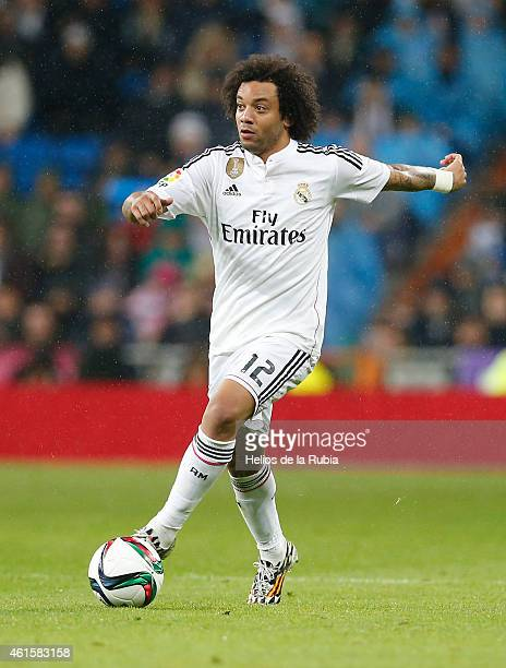Marcelo of Real Madrid in action during the Copa del Rey round of 16 second leg match between Real Madrid CF and Club Atletico de Madrid at Estadio...