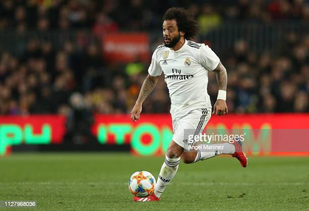 Marcelo of Real Madrid in action during the Copa del Rey Semi Final match between FC Barcelona and Real Madrid at Nou Camp on February 06 2019 in...