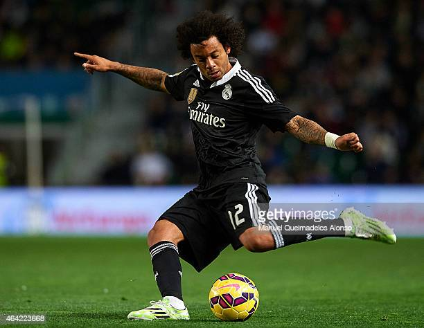 Marcelo of Real Madrid in action during the La Liga match between Elche FC and Real Madrid at Estadio Manuel Martinez Valero on February 22 2015 in...