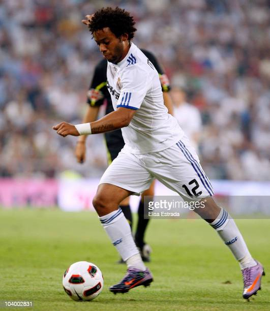 Marcelo of Real Madrid in action during the La Liga match between Real Marid and Osasuna at Estadio Santiago Bernabeu on September 11 2010 in Madrid...