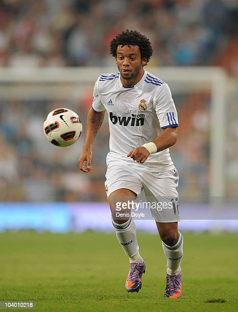 Marcelo of Real Madrid in action during the La Liga match between Real Madrid and Osasuna at Estadio Santiago Bernabeu on September 11 2010 in Madrid...