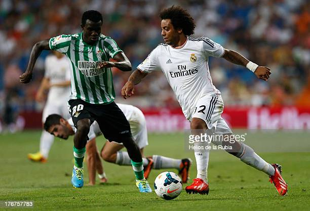 Marcelo of Real Madrid in action during the La Liga match between Real Madrid CF and Real Betis at Estadio Santiago Bernabeu on August 18 2013 in...