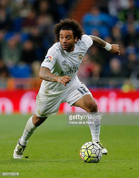 Marcelo of Real Madrid in action during the La Liga match between Real Madrid CF and Villarreal CF at Estadio Santiago Bernabeu on April 20 2016 in...