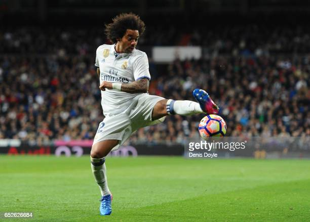 Marcelo of Real Madrid in action during the La Liga match between Real Madrid CF and Real Betis Balompie at Estadio Santiago Bernabeu on March 12...