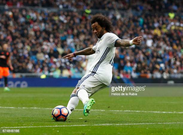 Marcelo of Real Madrid in action during the La Liga match between Real Madrid and Valencia CF at Estadio Santiago Bernabeu on April 29 2017 in Madrid...