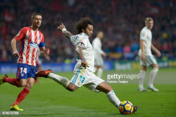 Marcelo of Real Madrid in action during the match between Atletico Madrid and Real Madrid as part of La Liga at Wanda Metropolitano Stadium on...