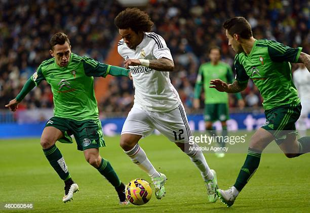 Marcelo of Real Madrid in action during the Spanish La Liga soccer match between Real Madrid and RC Celta at the Santiago Bernabeu stadium in Madrid...