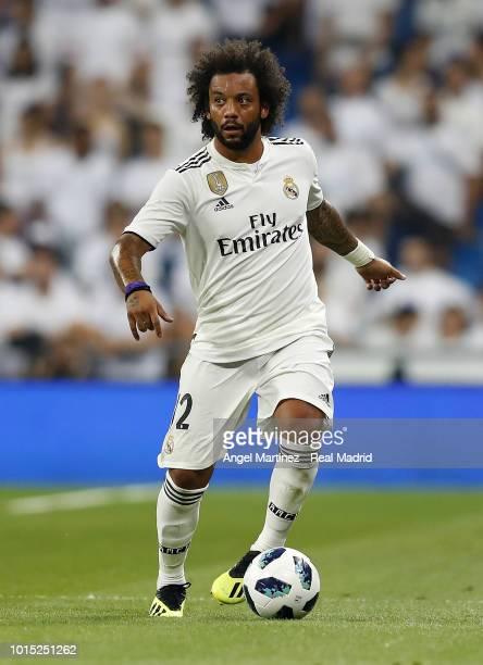 Marcelo of Real Madrid in action during the Trofeo Santiago Bernabeu match between Real Madrid and AC Milan at Estadio Santiago Bernabeu on August 11...
