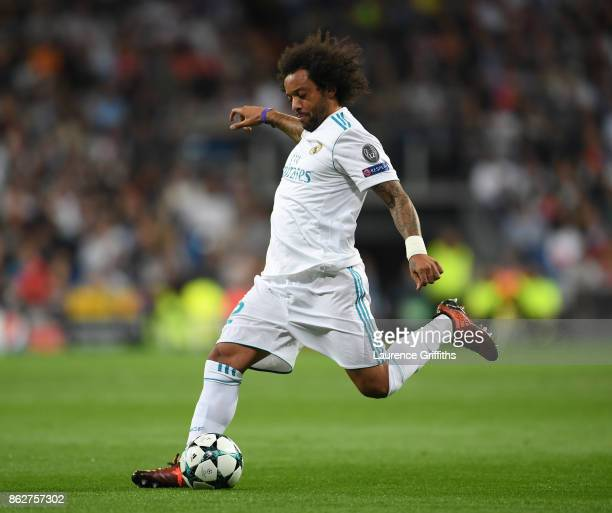 Marcelo of Real Madrid in action during the UEFA Champions League group H match between Real Madrid and Tottenham Hotspur at Estadio Santiago...