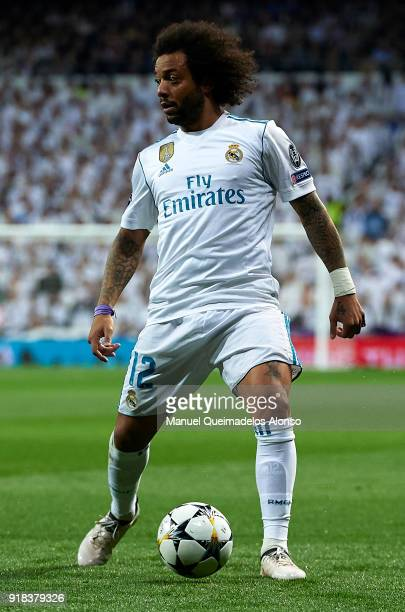 Marcelo of Real Madrid in action during the UEFA Champions League Round of 16 First Leg match between Real Madrid and Paris SaintGermain at Bernabeu...