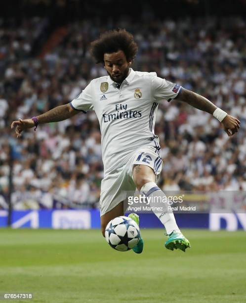 Marcelo of Real Madrid in action during the UEFA Champions League Semi Final first leg match between Real Madrid CF and Club Atletico de Madrid at...