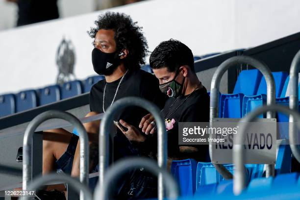 Marcelo of Real Madrid James Rodriguez of Real Madrid during the La Liga Santander match between Real Madrid v Deportivo Alaves at the Stadium Ciudad...