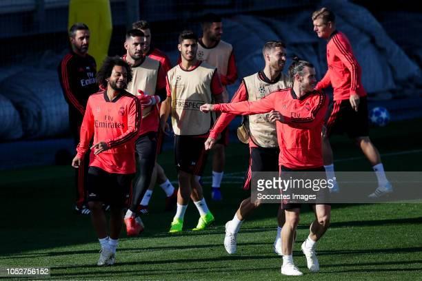Marcelo of Real Madrid Kiko Casilla of Real Madrid Nacho of Real Madrid Marco Asensio of Real Madrid Dani Ceballos of Real Madrid Sergio Ramos of...