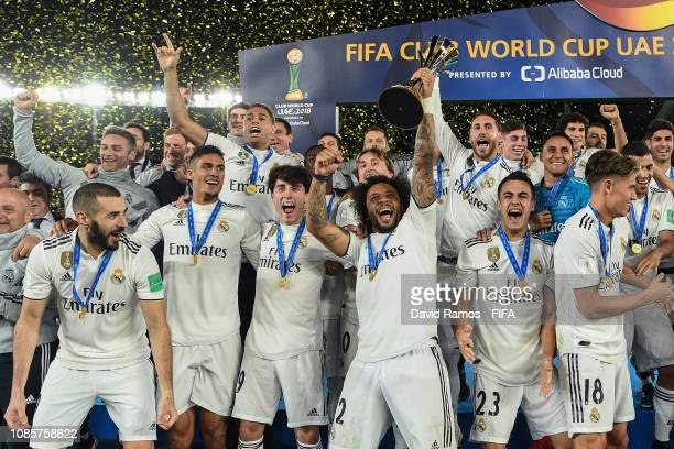 Marcelo of Real Madrid lifts the FIFA Club World Cup Trophy following the FIFA Club World Cup UAE 2018 Final between Al Ain and Real Madrid at the...