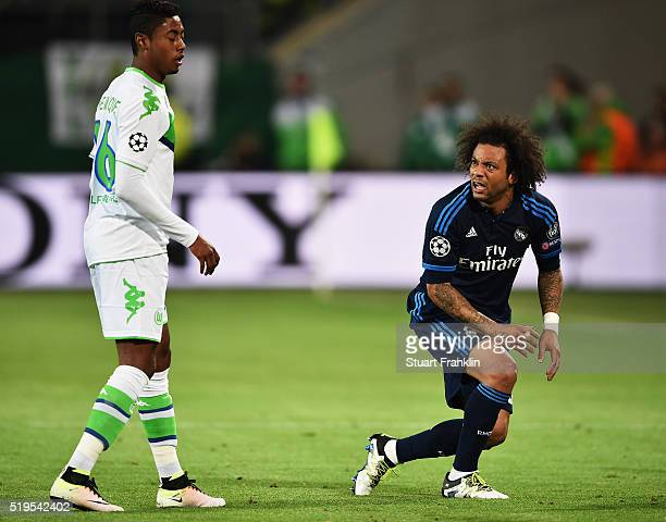 Marcelo of Real Madrid looks angry during the UEFA Champions League Quarter Final First Leg match between VfL Wolfsburg and Real Madrid at Volkswagen...