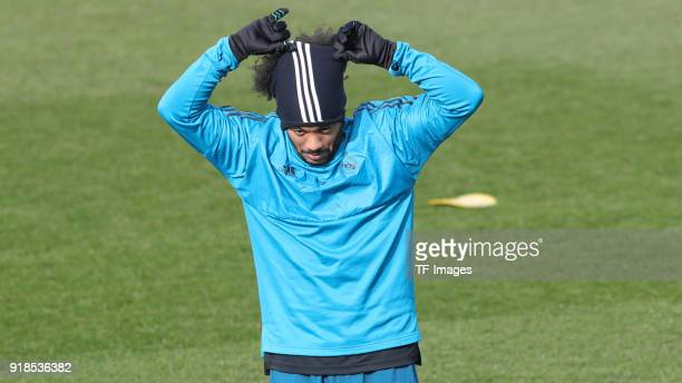 Marcelo of Real Madrid looks on during a training session at Valdebebas training ground ahead their Round of 16 first leg UEFA Champions League match...