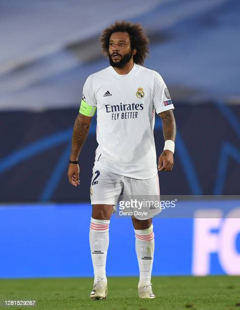 Marcelo of Real Madrid looks on during the UEFA Champions League Group B stage match between Real Madrid and Shakhtar Donetsk at Estadio Alfredo Di...