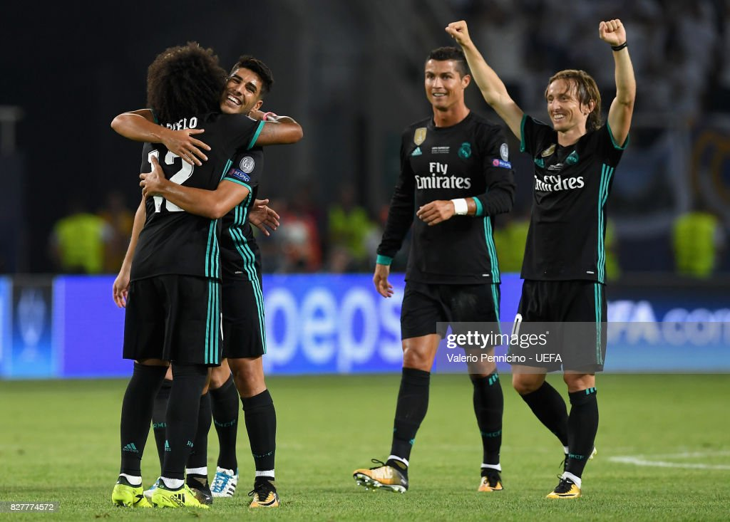 Marcelo of Real Madrid, Luka Modric of Real Madrid and Cristiano Ronaldo of Real Madrid celebrate victory after the UEFA Super Cup final between Real Madrid and Manchester United at the Philip II Arena on August 8, 2017 in Skopje, Macedonia.