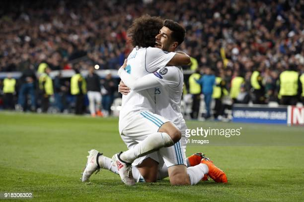 Marcelo of Real Madrid Marco Asensio of Real Madrid during the UEFA Champions League round of 16 match between Real Madrid and Paris SaintGermain at...