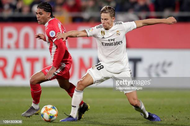 Marcelo of Real Madrid Marcos Llorenta of Real Madrid during the Spanish Copa del Rey match between Girona v Real Madrid at the Estadi Municipal...