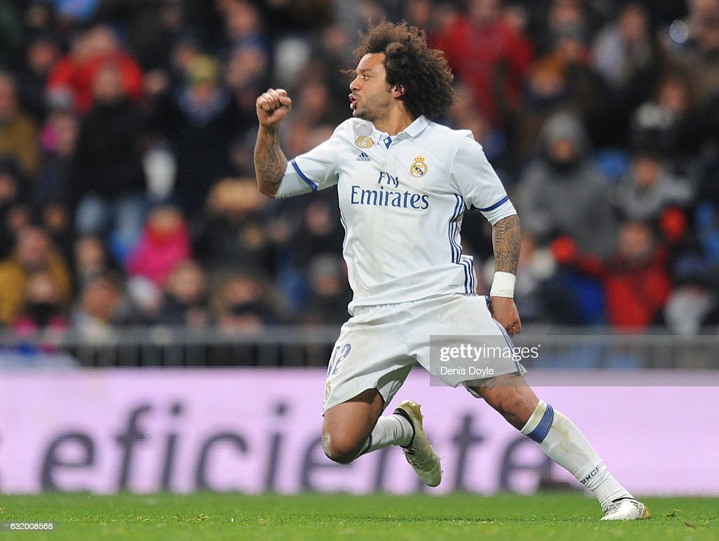 Marcelo of Real Madrid reacts after scoring his team's first goal during the Copa del Rey Quarter Final, First Leg match between Real Madrid CF and Celta Vigo at Bernabeu on January 18, 2017 in Madrid, Spain.