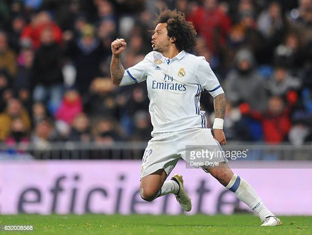 Marcelo of Real Madrid reacts after scoring his team's first goal during the Copa del Rey Quarter Final First Leg match between Real Madrid CF and...