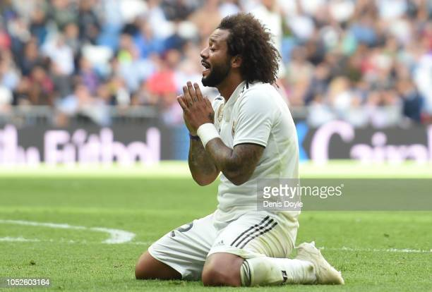 Marcelo of Real Madrid reacts during the La Liga match between Real Madrid CF and Levante UD at Estadio Santiago Bernabeu on October 20 2018 in...