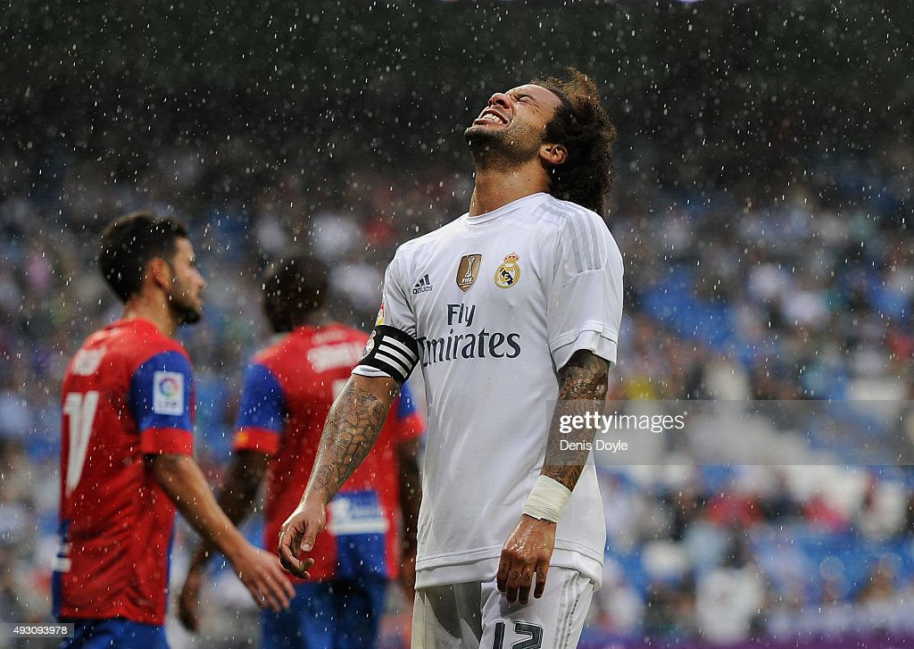 Marcelo of Real Madrid reacts during the La Liga match between Real Madrid CF and Levante UD at estadio Santiago Bernabeu on October 17, 2015 in Madrid, Spain.