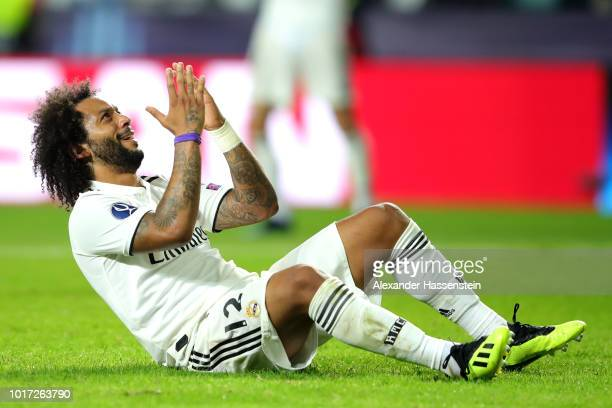 Marcelo of Real Madrid reacts to a missed chance during the UEFA Super Cup between Real Madrid and Atletico Madrid at Lillekula Stadium on August 15...