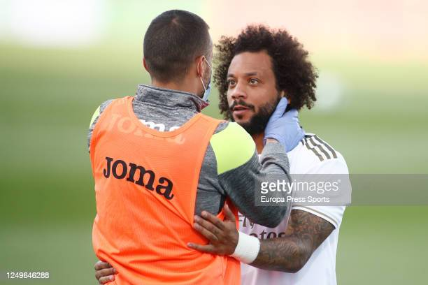Marcelo of Real Madrid saludates to Pedro Leon of Eibar during the spanish league, LaLiga, football match played between Real Madrid and SD Eibar at...