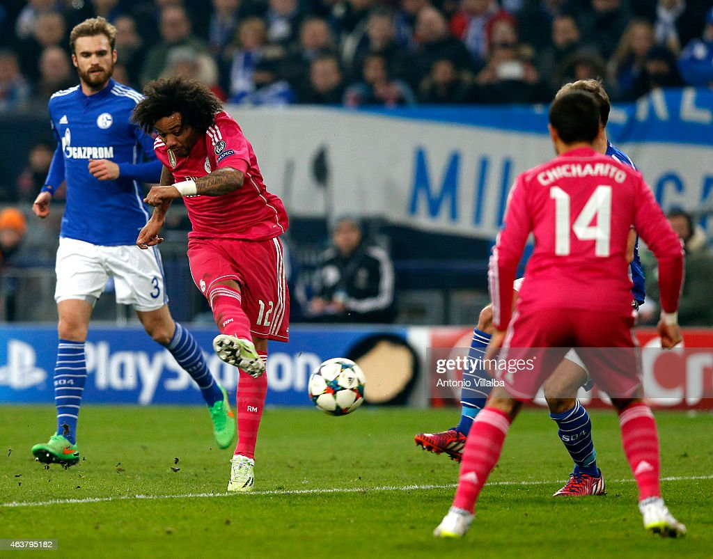 marcelo of real madrid scores his team s second goal during the uefa champions league round of