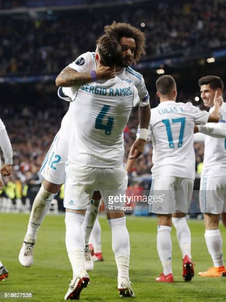 Marcelo of Real Madrid Sergio Ramos of Real Madrid Lucas Vazquez of Real Madrid Marco Asensio of Real Madrid during the UEFA Champions League round...