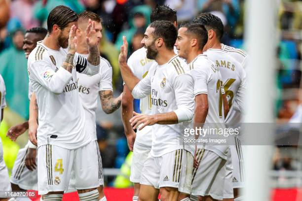 Marcelo of Real Madrid Sergio Ramos of Real Madrid Toni Kroos of Real Madrid Dani Carvajal of Real Madrid Lucas Vazquez of Real Madrid James...