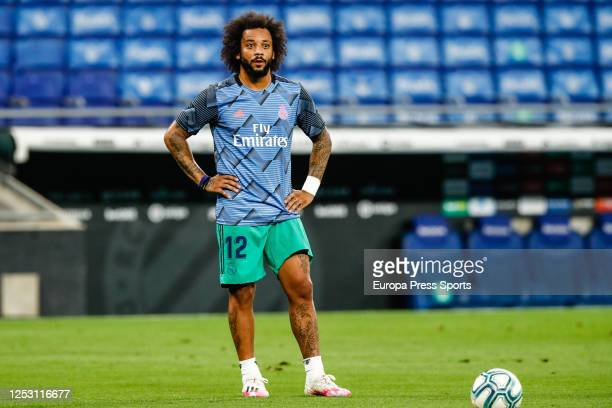 Marcelo of Real Madrid warms up during the spanish league, LaLiga, football match played between RCD Espanyol de Barcelona and Real Madrid at RCDE...